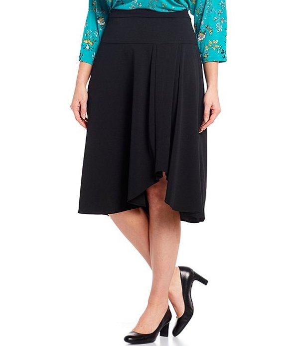 カルバンクライン レディース スカート ボトムス Plus Size Hi-Low Flare Pull-On Skirt Black