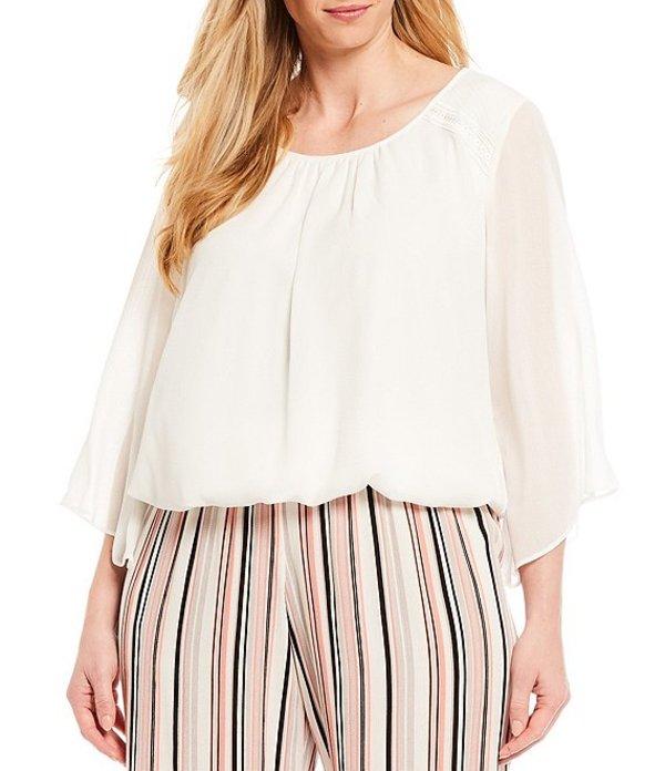 アイエヌ スタジオ レディース シャツ トップス Plus Size Scoop Neck Lace Shoulder Detail Angel Illusion Sleeve Smocked Hem Top Off White