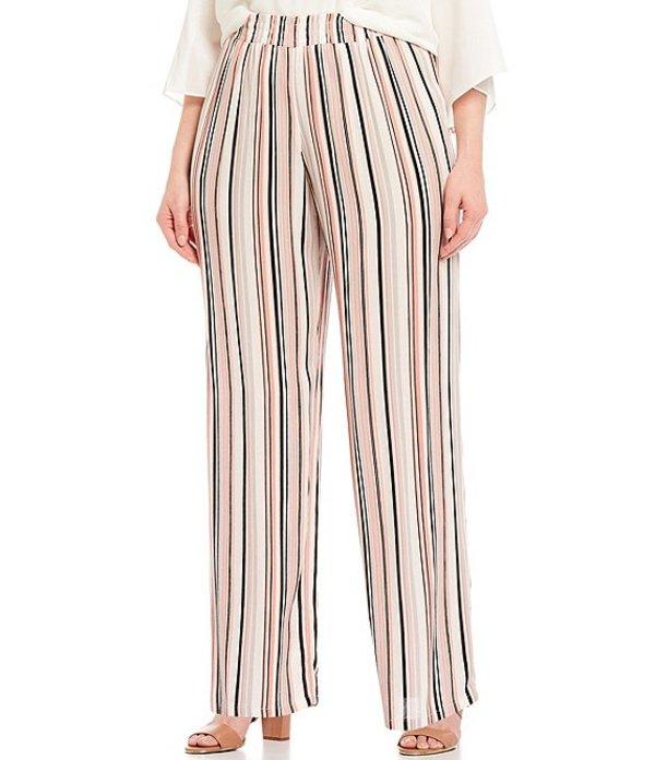 アイエヌ スタジオ レディース カジュアルパンツ ボトムス Plus Size Vertical Stripe Crepon Pull-On Palazzo Pants Coral Multi Stripe