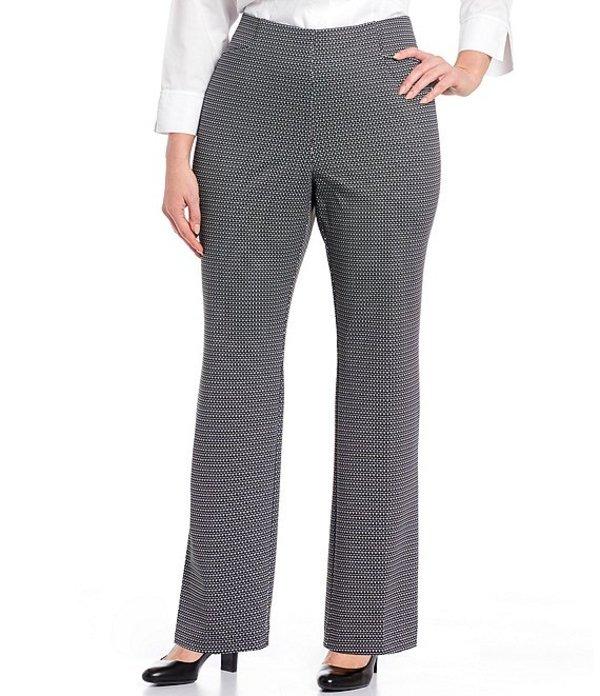 インベストメンツ レディース カジュアルパンツ ボトムス Plus Size the REGENT ST fit Pull-On Straight Leg Geo Print Pants Black/White Geo