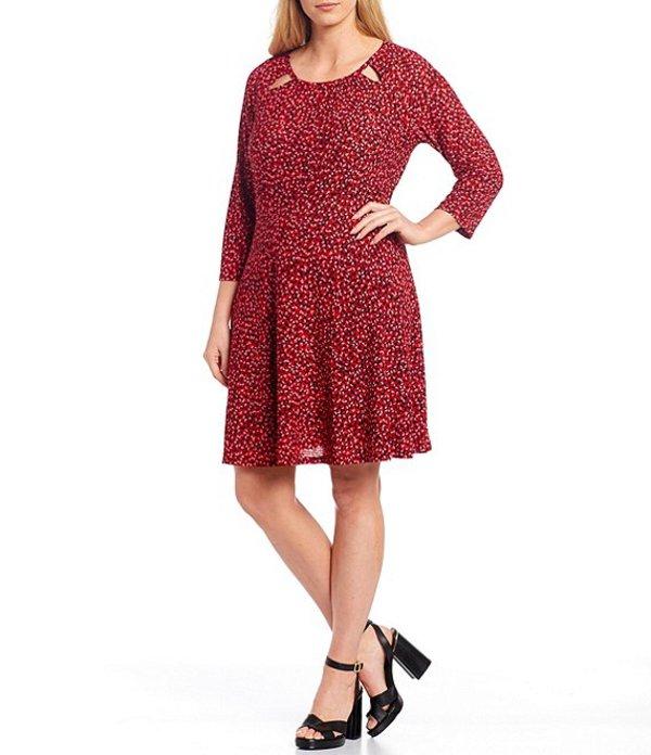 マイケルコース レディース ワンピース トップス MICHAEL Michael Kors Plus Size Petal Print Cut-Out Neck 3/4 Raglan Sleeve Dress Black Multi