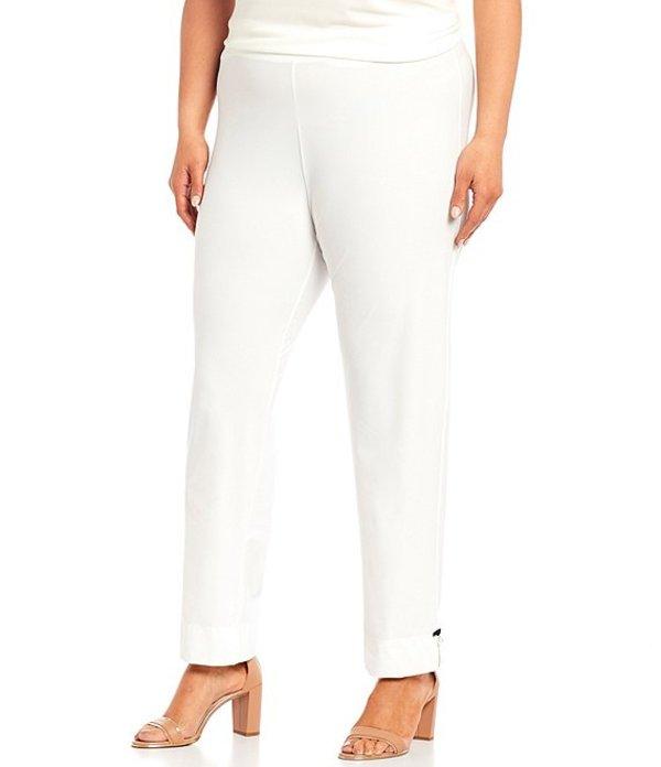 アイシーコレクション レディース カジュアルパンツ ボトムス Plus Size Pearl Trim Detail Slim Pant White
