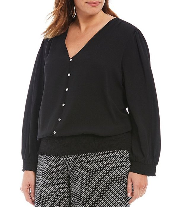 マイケルコース レディース シャツ トップス MICHAEL Michael Kors Plus Size Textured Crepe V-Neck Long Sleeve Smocked Blouse Black