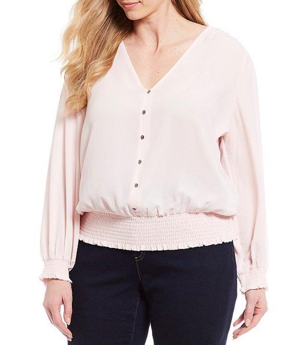 マイケルコース レディース シャツ トップス MICHAEL Michael Kors Plus Size Textured Crepe V-Neck Long Sleeve Smocked Blouse Pink Wash