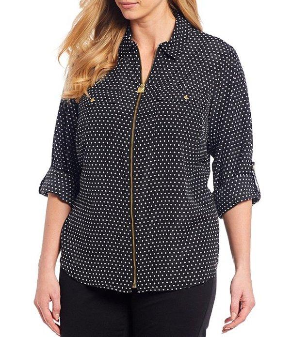 マイケルコース レディース シャツ トップス MICHAEL Michael Kors Plus Size Mini Mod Dot Print Roll-Tab Long Sleeve Zip Front Top Black/White