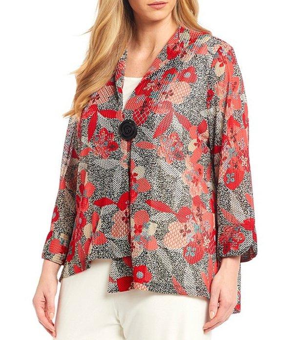 アイシーコレクション レディース ジャケット・ブルゾン アウター Plus Size Floral Print Asymmetric Hem One-Button Jacket Red