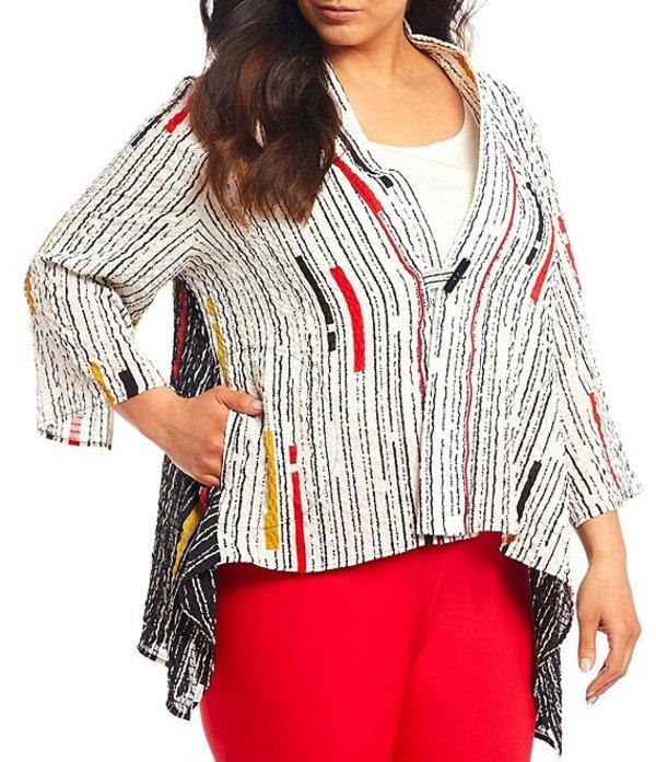 アイシーコレクション レディース ジャケット・ブルゾン アウター Plus Size Multi Stripe Print Handkerchief Hem Short Jacket White