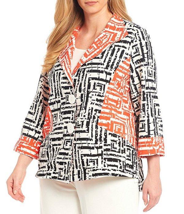 アイシーコレクション レディース ジャケット・ブルゾン アウター Plus Size Color Contrast 3/4 Sleeve Two Button Jacket Black