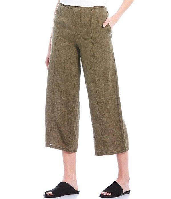 エイリーンフィッシャー レディース カジュアルパンツ ボトムス Organic Washed Linen Delave Effect Pull-On Wide Cropped Pants Olive