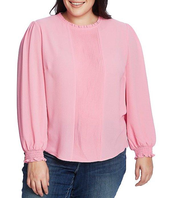 セセ レディース シャツ トップス Plus Size Long Sleeve Smocked Cuff Pintucked Blouse Pink Begonia