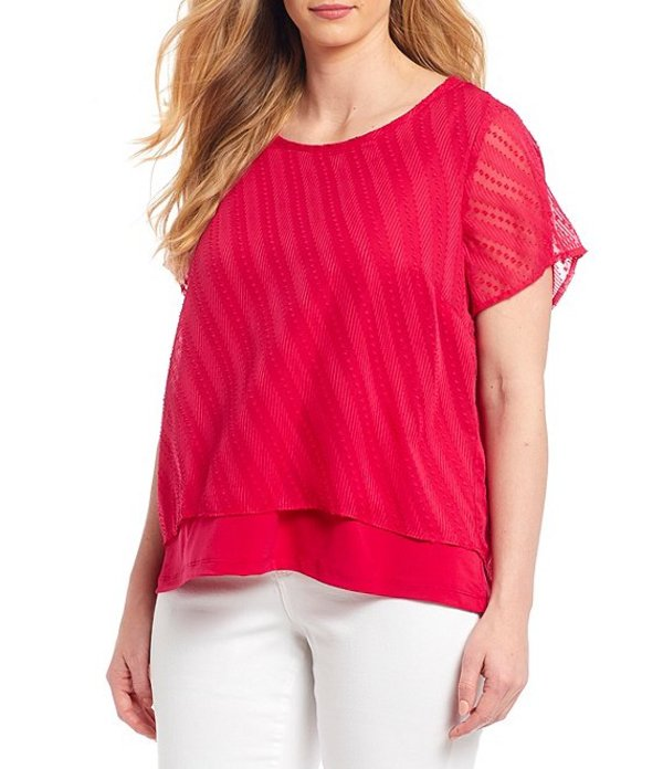 ピーター ナイガード レディース シャツ トップス Plus Size Woven Short Sleeve Layered Top Pink Punch