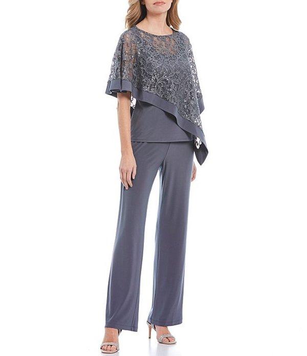アールアンドエムリチャーズ レディース カジュアルパンツ ボトムス Petite Size Sequin Lace Mock 3 Piece Poncho Pant Suit Charcoal