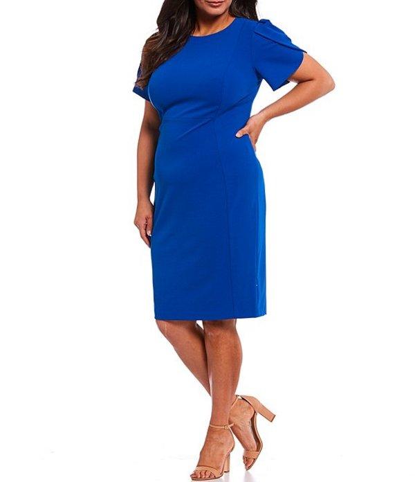 カルバンクライン レディース ワンピース トップス Plus Size Short Tulip Sleeve Solid Sheath Stretch Dress Capri