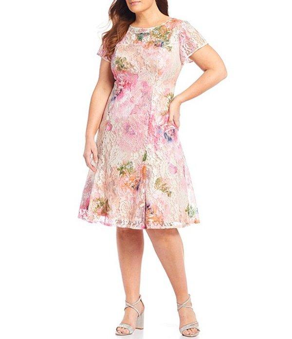 イグナイト レディース ワンピース トップス Plus Size Short Sleeve Floral Sequin Lace Dress Pink Muti