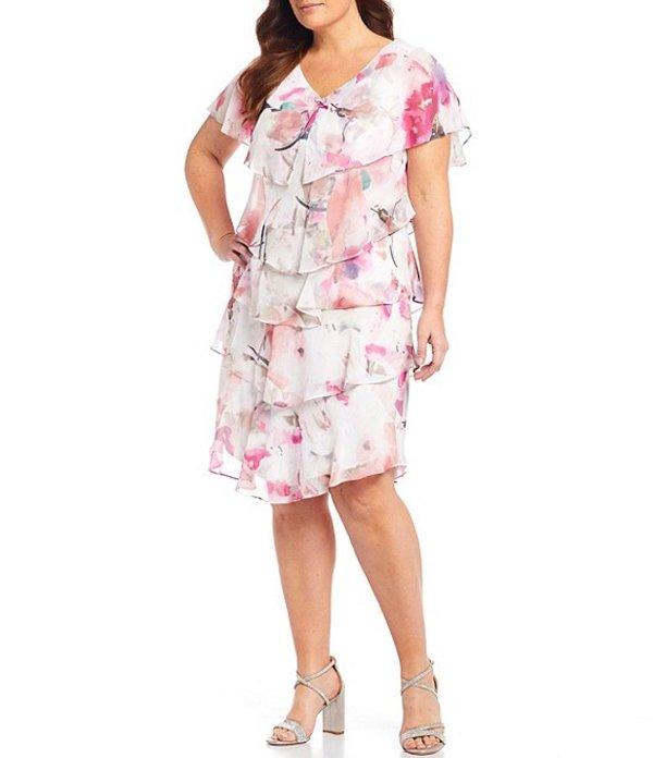 イグナイト レディース ワンピース トップス Plus Size Floral Chiffon V-Neck Short Sleeve Tiered Dress Pink Multi