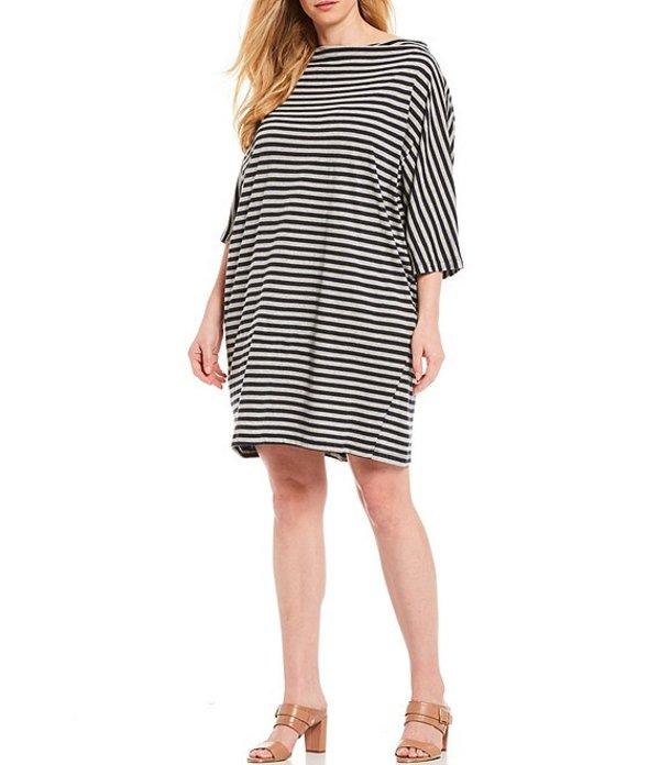 ブライン ウォーカー レディース ワンピース トップス Plus Size Ingrid Organic Cotton Stripe Bateau Neck Short Sleeve Dress Blue/Grey