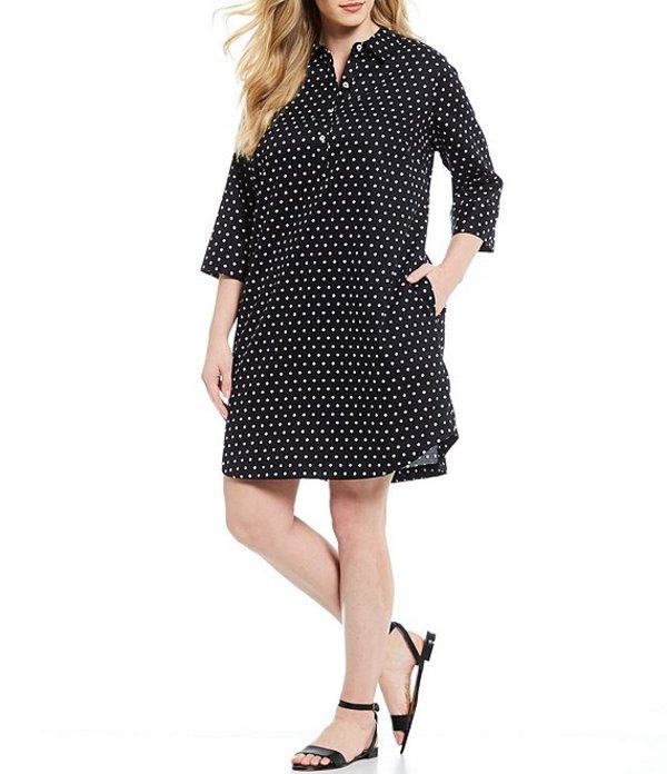 フォックスクラフト レディース ワンピース トップス Plus Size Darien Dot 3/4 Sleeve Round Hem Shirt Dress Black White Dot