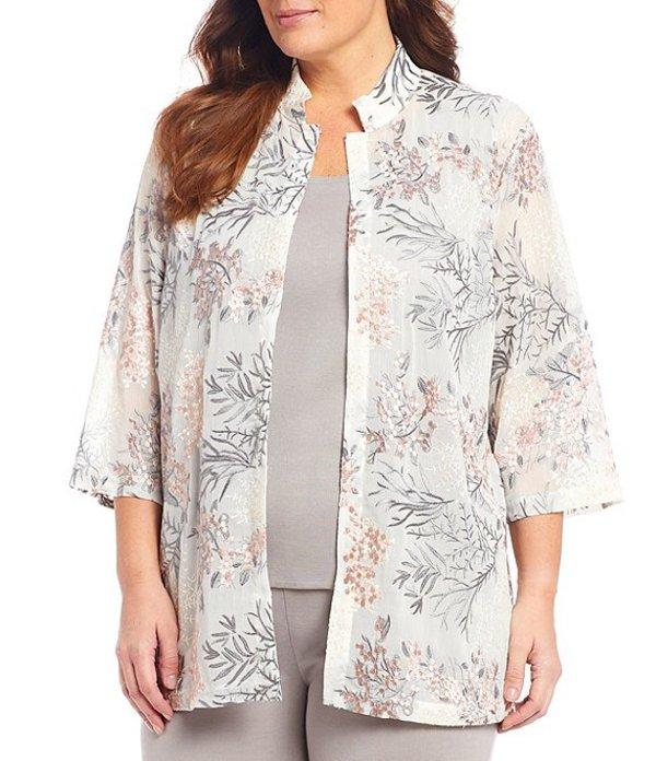 ミンウォン レディース ジャケット・ブルゾン アウター Plus Size 3/4 Sleeve Mandarin Collar Floral Mesh Embroidery Jacket Sterling/Sugar/White