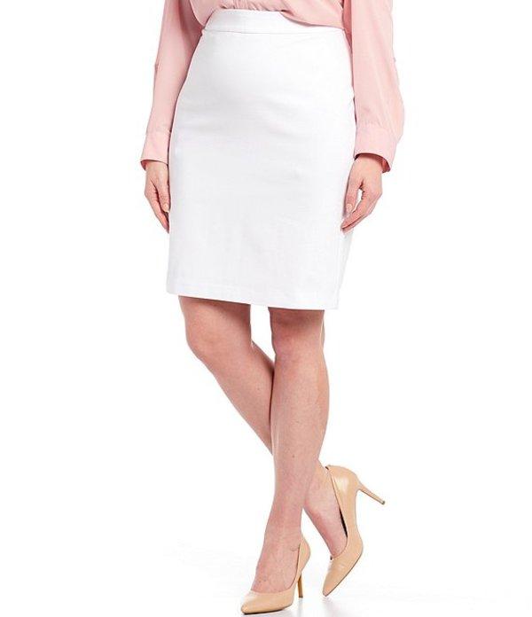 インベストメンツ レディース スカート ボトムス Plus Size Elite Stretch Back Zip Pencil Skirt White