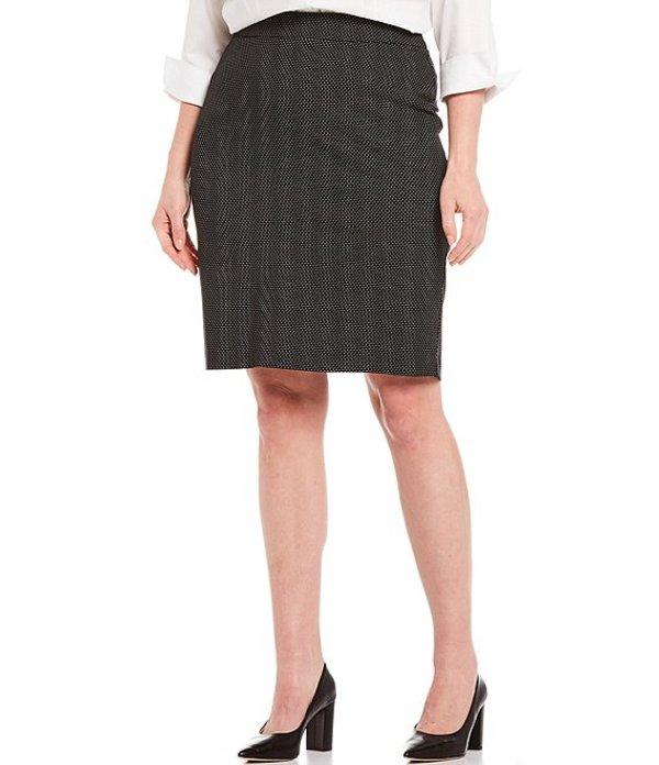 インベストメンツ レディース スカート ボトムス Plus Size Elite Stretch Back Zip Dot Print Pencil Skirt Black/White Dot