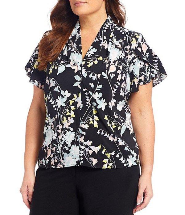 カルバンクライン レディース シャツ トップス Plus Size Floral Print Crepe de Chine Short Tulip Sleeve Top Black Multi