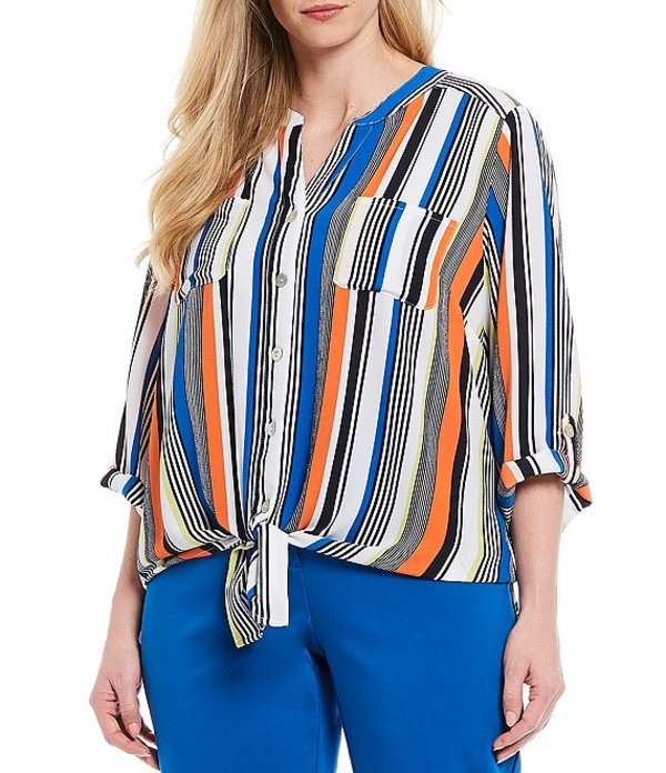 ルビーアールディー レディース シャツ トップス Plus Size Stripe Print Stretch Crepe Roll-Tab Sleeve Button Tie Front Top Royal Multi