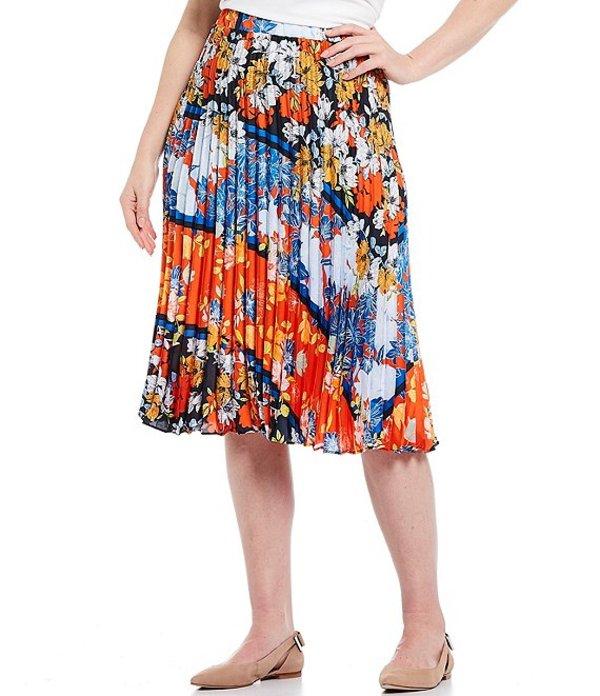 ルビーアールディー レディース スカート ボトムス Plus Size Floral Stripe Print Pull-On Pleated Midi Skirt Navy Multi