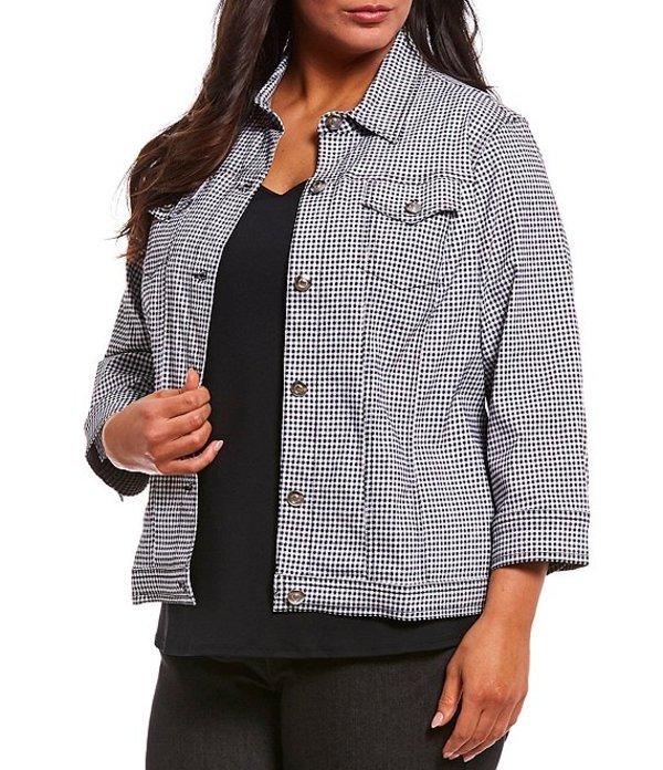ルビーアールディー レディース ジャケット・ブルゾン アウター Plus Size Gingham Print 3/4 Sleeve Button Front Jacket Black/White