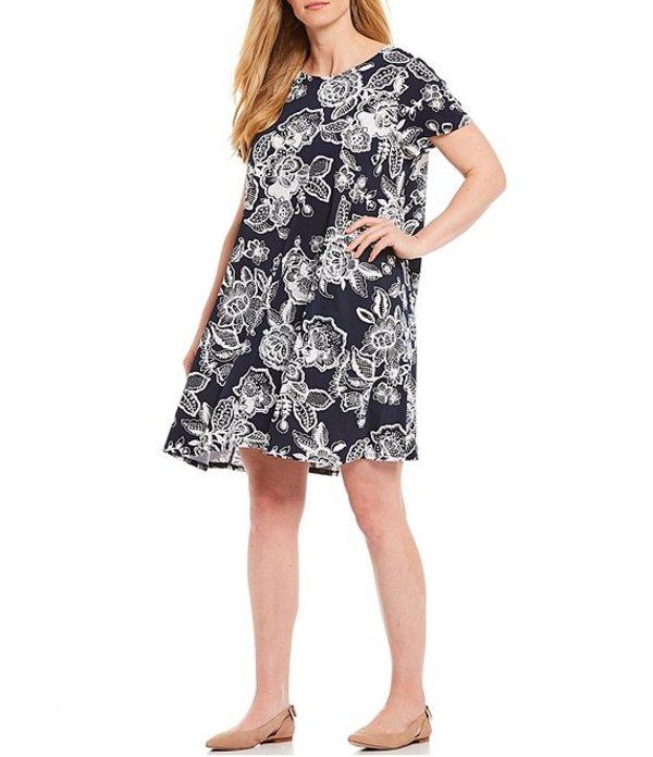 ルビーアールディー レディース ワンピース トップス Plus Size Floral Puff Print Scoop Neck Short Sleeve Dress Navy/White