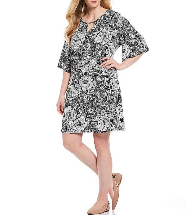 ルビーアールディー レディース ワンピース トップス Plus Size Floral Puff Print Keyhole Neck Elbow Bell Sleeve A-Line Dress Black/White