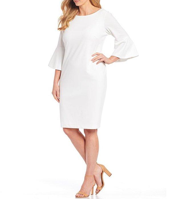 カルバンクライン レディース ワンピース トップス Plus Size Scuba Crepe Bell Sleeve Knee Length Sheath Dress White