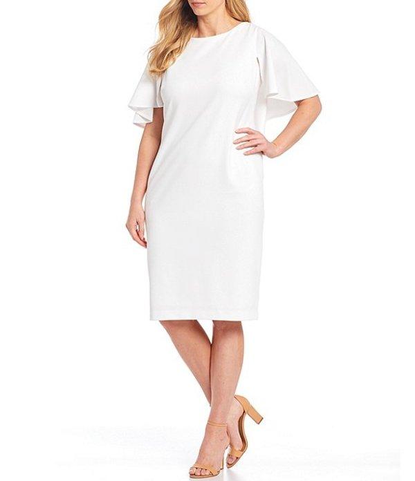 カルバンクライン レディース ワンピース トップス Plus Size Flutter Sleeve Scuba Crepe Sheath Dress White