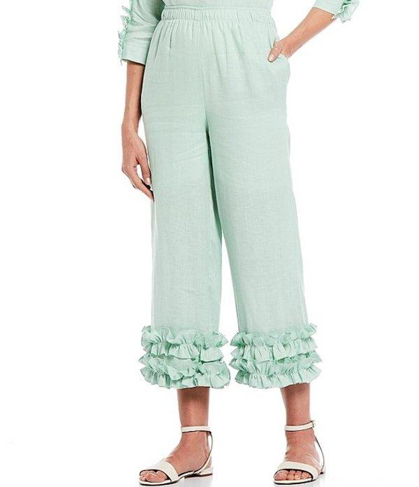 アイシーコレクション レディース カジュアルパンツ ボトムス Shirring Ruffle Tape Hem Linen Pull-On Pant Mint