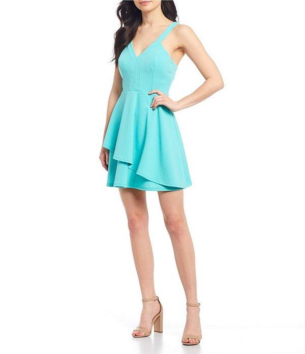 送料無料 サイズ交換無料 ティーズミー レディース トップス ワンピース Mint ティーズミー レディース ワンピース トップス V-Neck Double-Hem Fit  Flare Dress Mint