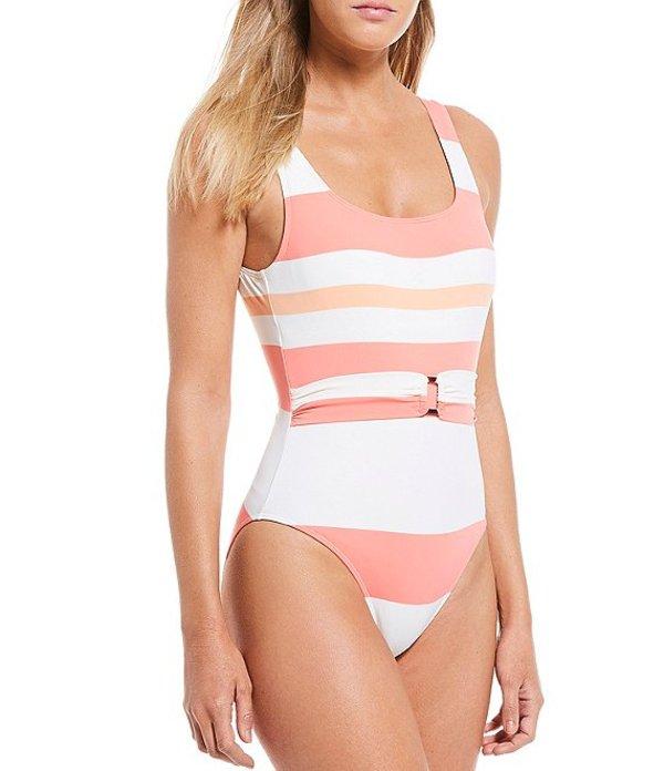 ダニエル クレミュ レディース タンクトップ トップス Horizon Stripe Square Neck Belted One Piece Swimsuit Guava