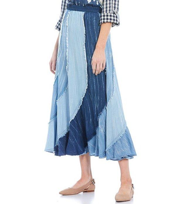 ジョン マーク レディース スカート ボトムス Chambray Pieced Ruffle Fringe Midi Skirt Blue