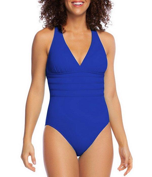 ラブランカ レディース ワンピース トップス Island Goddess Multi Strap Cross Back Tummy Control V-Neck One Piece Swimsuit Blueberry