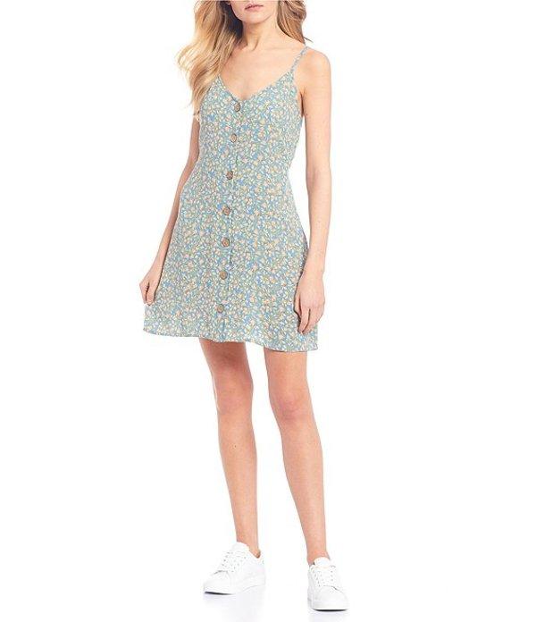 ビラボン レディース ワンピース トップス Sweet For Ya Floral Button Front Slip Dress French Blue
