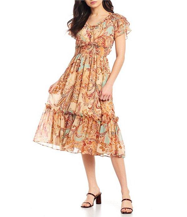 ブルーペッペーブルーペッパー レディース ワンピース トップス Printed Maxi Dress Brown Multi