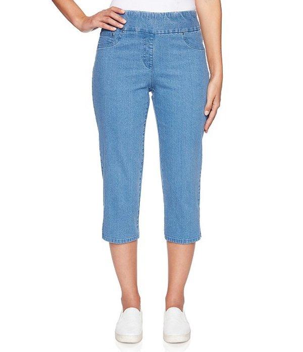 ルビーアールディー レディース カジュアルパンツ ボトムス Petite Size Pull-On Extra Stretch Denim Cropped Capri Pant Blue Denim
