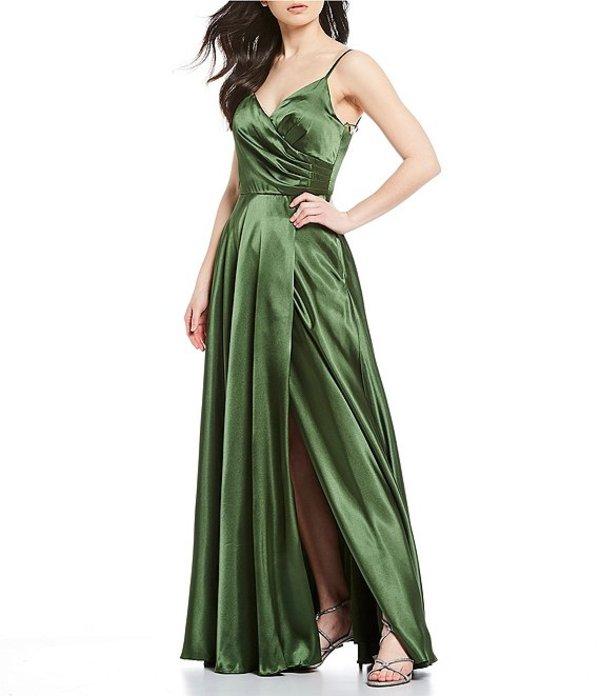 モルガン レディース ワンピース トップス Spaghetti Strap Pleated-Side A-Line Satin Long Dress Olive