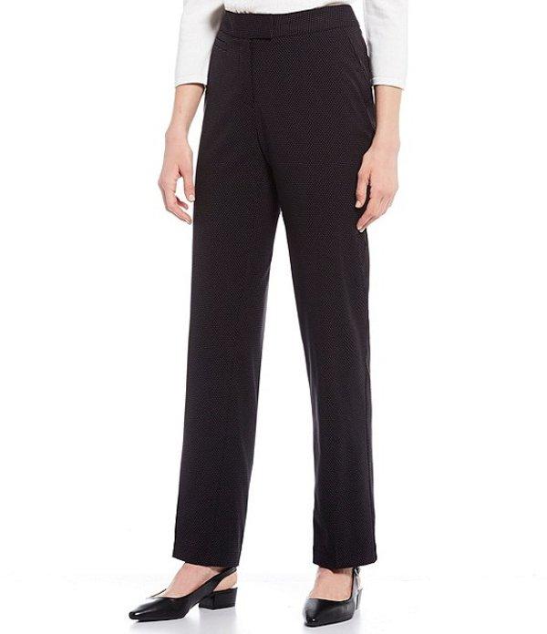 インベストメンツ レディース デニムパンツ ボトムス Petite Size the 5TH AVE fit Straight Leg Non-Wrinkle Two Way Stretch Pant Black/White Pin Dot