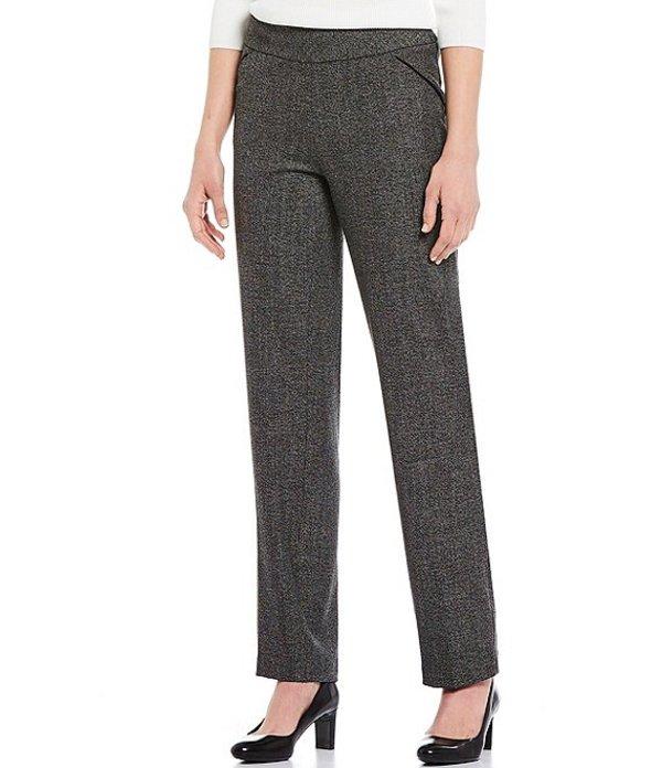 インベストメンツ レディース デニムパンツ ボトムス Petite Size the PARK AVE fit Pull-On Straight Leg Tweed Pant with Pockets Black/White Tweed