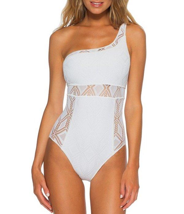 ベッカバイレベッカバーチュー レディース ワンピース トップス Colorplay One Shoulder Crochet Detail One Piece Swimsuit White