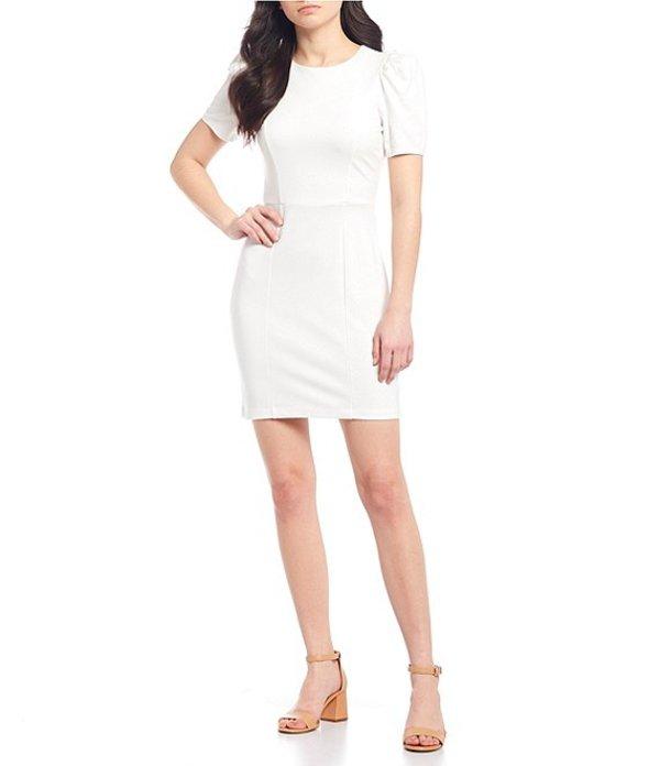 ジービー レディース ワンピース トップス Puff Sleeve Slim Dress white