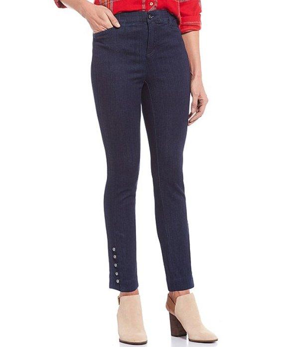 イントロ レディース カジュアルパンツ ボトムス Petite Size Mandy Button-Hem Detail Denim Ankle Pants Freedom Dark Wash