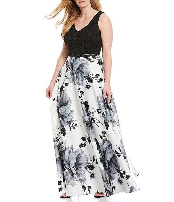 シティヴァイブ レディース ワンピース トップス Plus Sleeveless Lace Top with Floral Skirt Two-Piece Long Dress Black/Ivory/Grey
