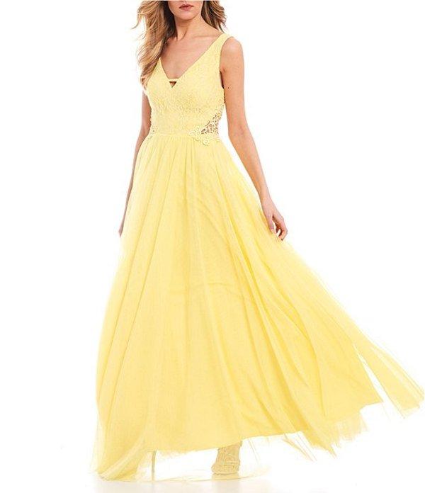 シティヴァイブ レディース ワンピース トップス Sleeveless Lace Bodice Side-Crochet Ballgown Yellow