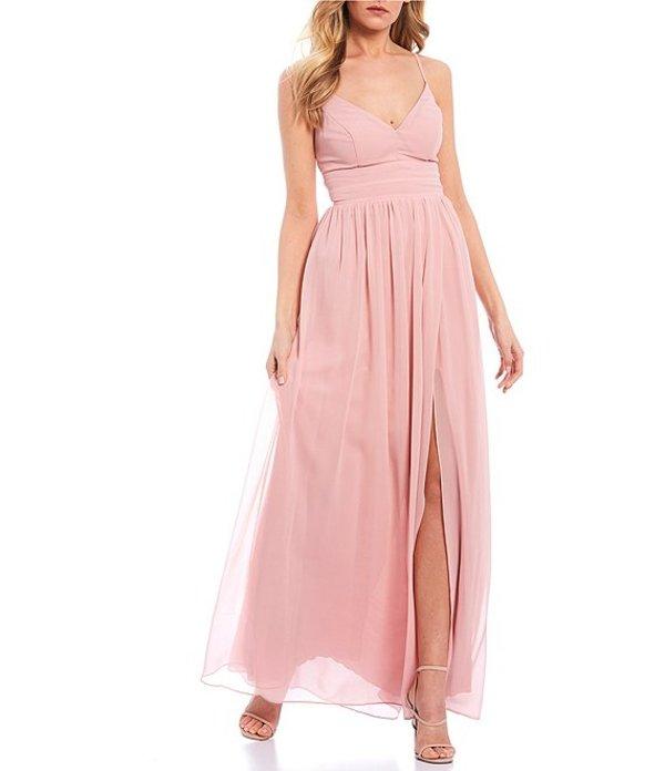 シティヴァイブ レディース ワンピース トップス Spaghetti Strap V-Neck Lace-Back Chiffon Long Dress Misty Pink