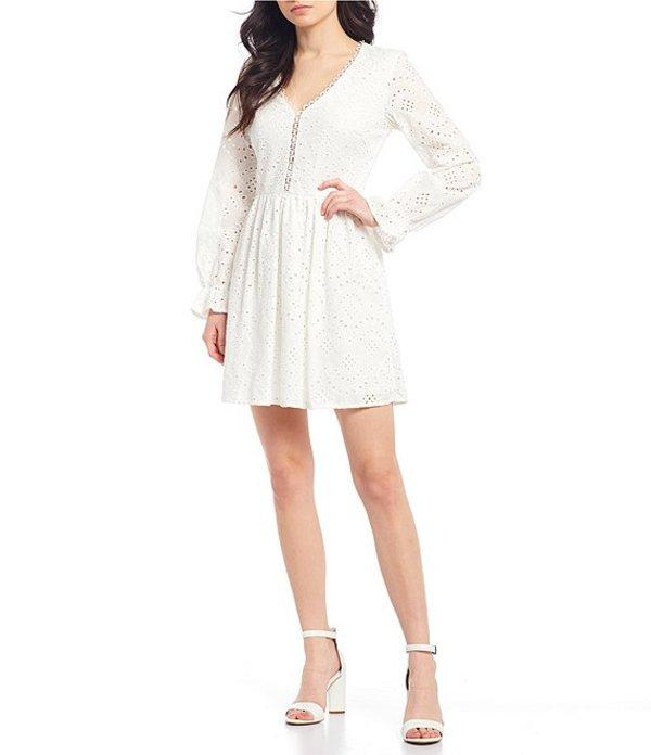 シティヴァイブ レディース ワンピース トップス Long Sleeve V-Neck Eyelet Skater Dress White